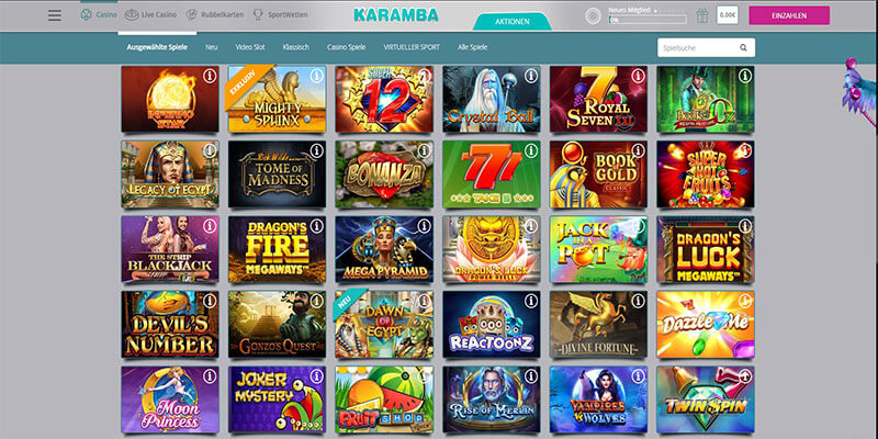 karamba casino Ausgewählte Spiele