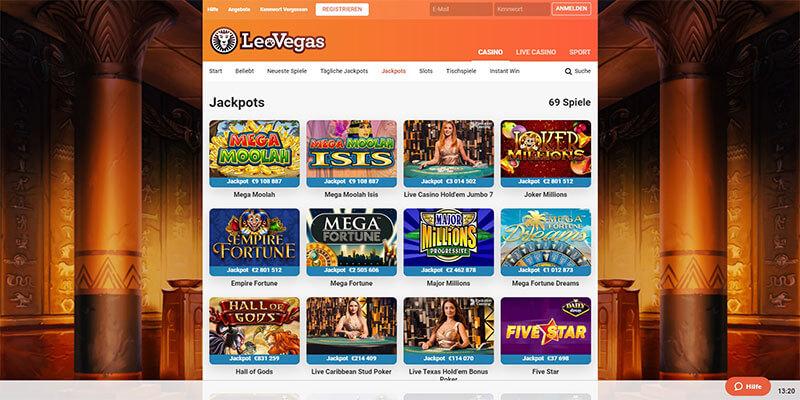 LeoVegas Casino Jackpots
